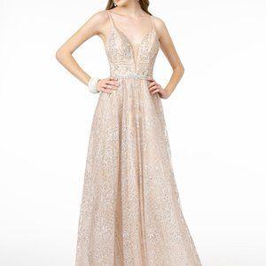 Illusion V-Neck A-Line Shape Prom Dress GSGL2915